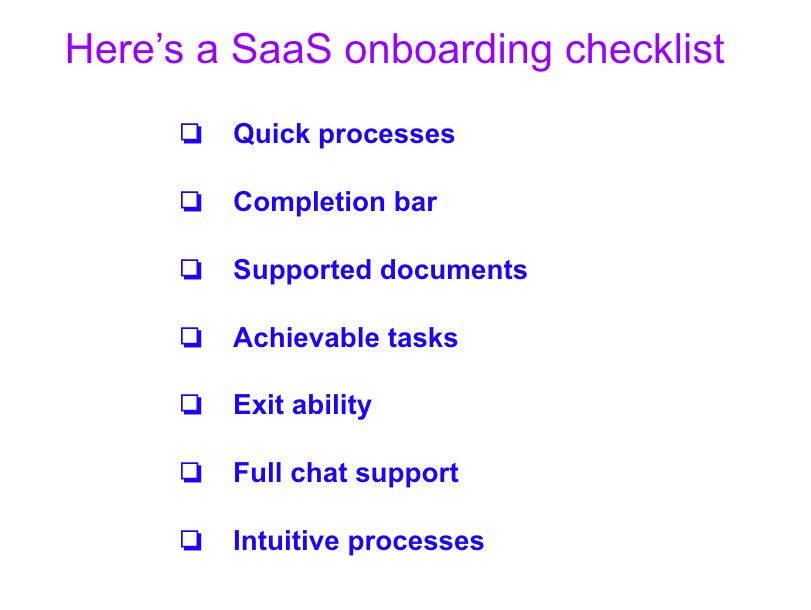 An example of a SaaS customer onboarding checklist.
