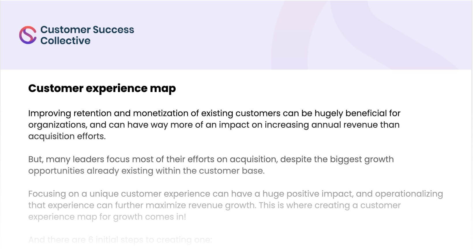 Customer experience map